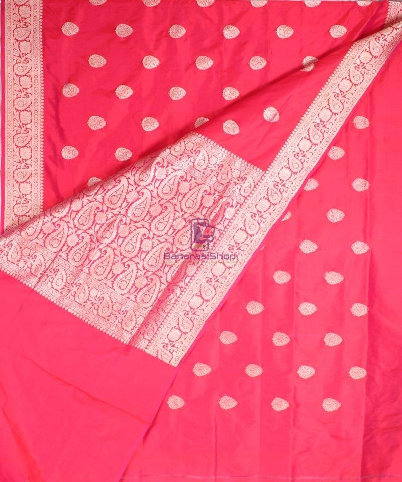 Handwoven Banarasi Katan Pure Silk Saree in Red 3