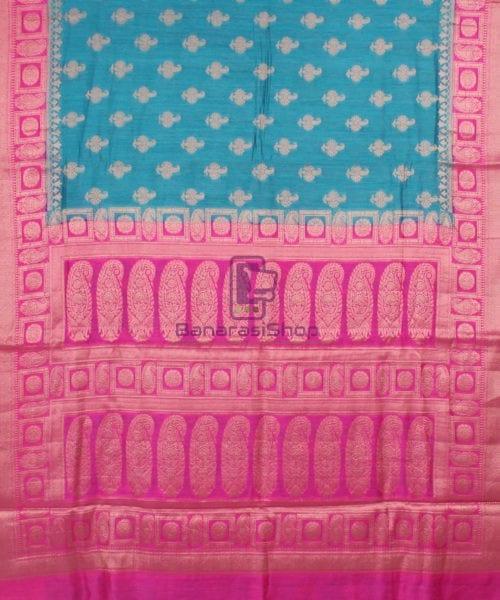 Pure Banarasi Muga Silk Saree in Blue and Pink 5