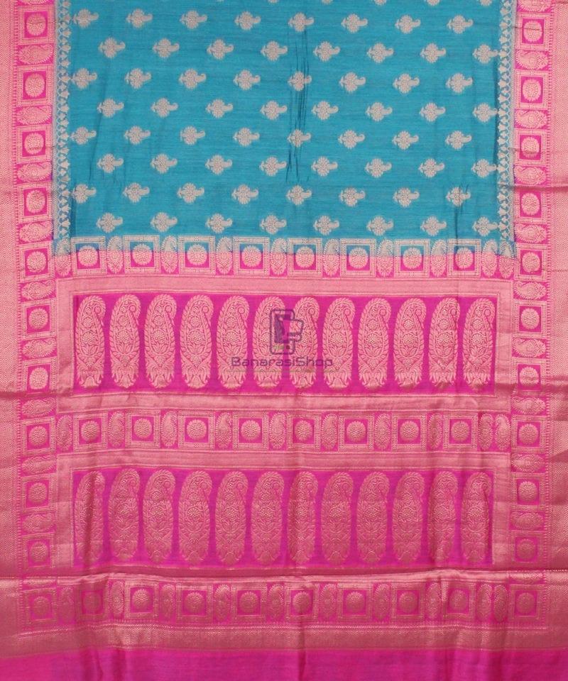 Pure Banarasi Muga Silk Saree in Blue and Pink 2
