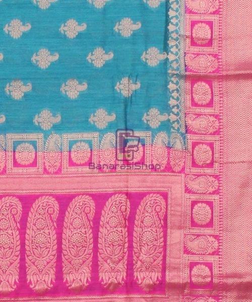 Pure Banarasi Muga Silk Saree in Blue and Pink 6