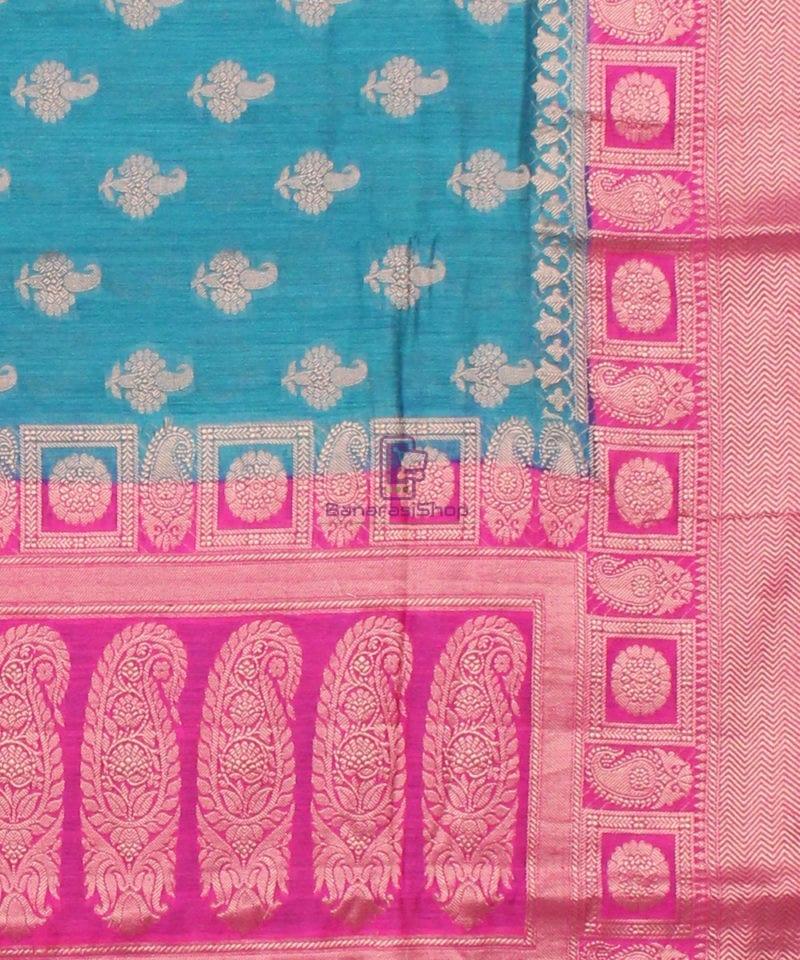 Pure Banarasi Muga Silk Saree in Blue and Pink 3