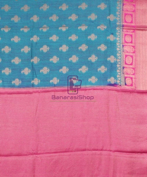 Pure Banarasi Muga Silk Saree in Blue and Pink 7