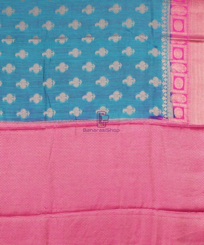 Pure Banarasi Muga Silk Saree in Blue and Pink 4