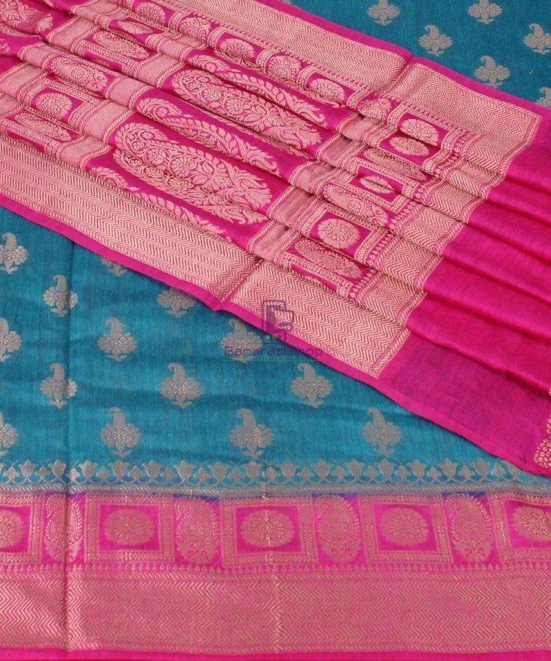 Pure Banarasi Muga Silk Saree in Blue and Pink 1