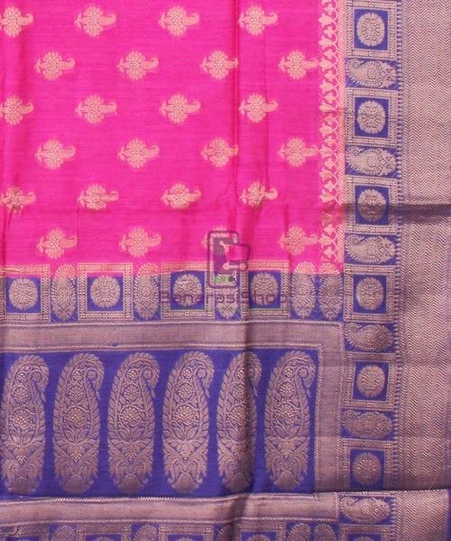 Pure Banarasi Muga Silk Saree in Pink and Violet 6
