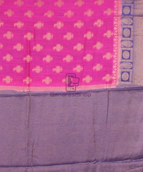 Pure Banarasi Muga Silk Saree in Pink and Violet 7