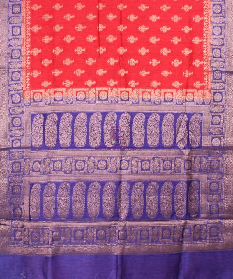Pure Banarasi Muga Silk Saree in Red Orange and Violet 2