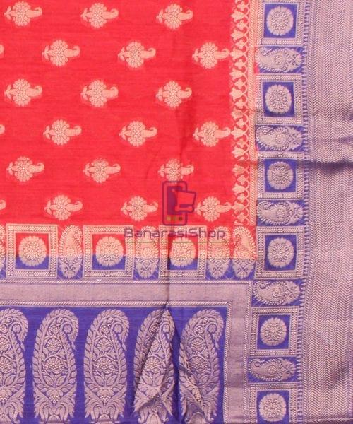 Pure Banarasi Muga Silk Saree in Red Orange and Violet 6