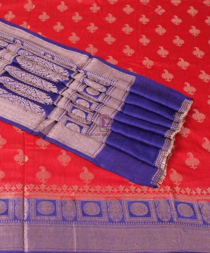 Pure Banarasi Muga Silk Saree in Red Orange and Violet 1