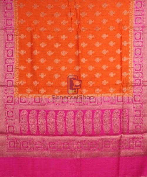 Pure Banarasi Muga Silk Saree in Orange and Pink 5