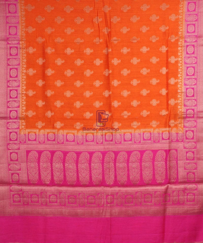 Pure Banarasi Muga Silk Saree in Orange and Pink 2