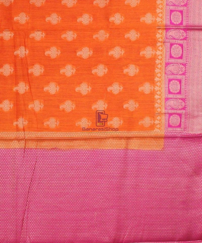 Pure Banarasi Muga Silk Saree in Orange and Pink 4