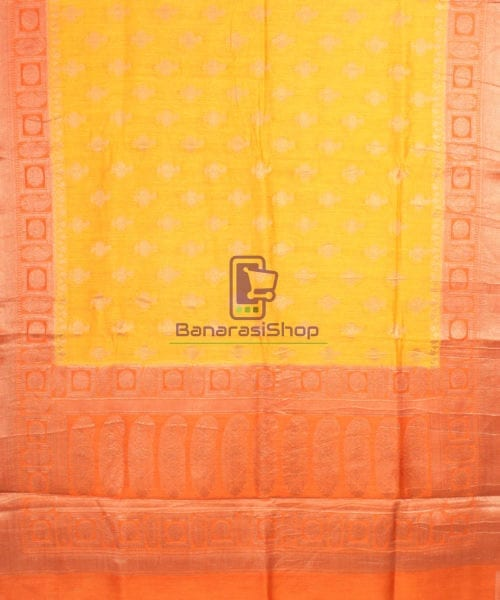 Pure Banarasi Muga Silk Saree in Yellow and Saffron Brown 5