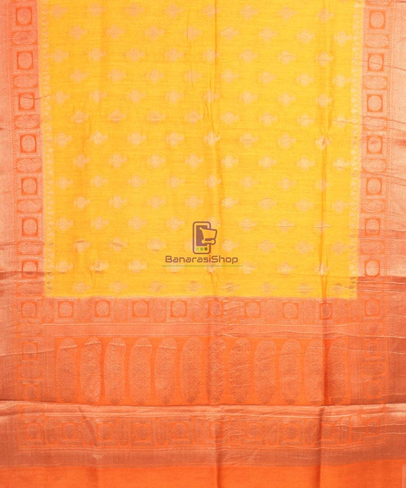 Pure Banarasi Muga Silk Saree in Yellow and Saffron Brown 2