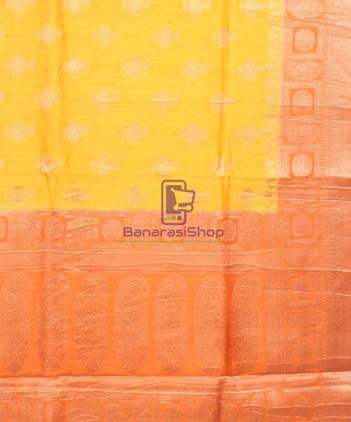 Pure Banarasi Muga Silk Saree in Yellow and Saffron Brown 6