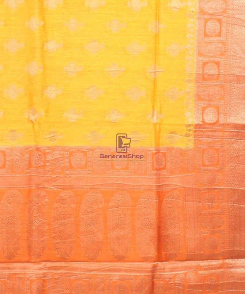 Pure Banarasi Muga Silk Saree in Yellow and Saffron Brown 3