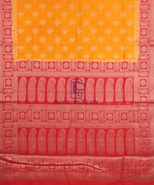 Pure Banarasi Muga Silk Saree in Light Orange and Red 5