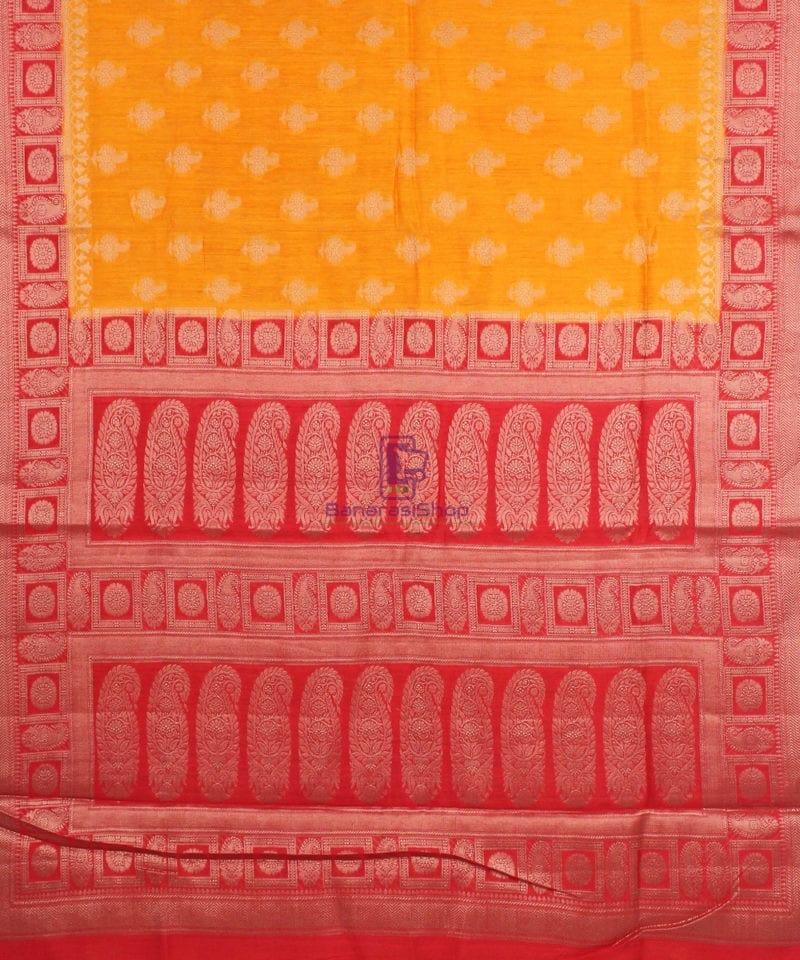Pure Banarasi Muga Silk Saree in Light Orange and Red 2