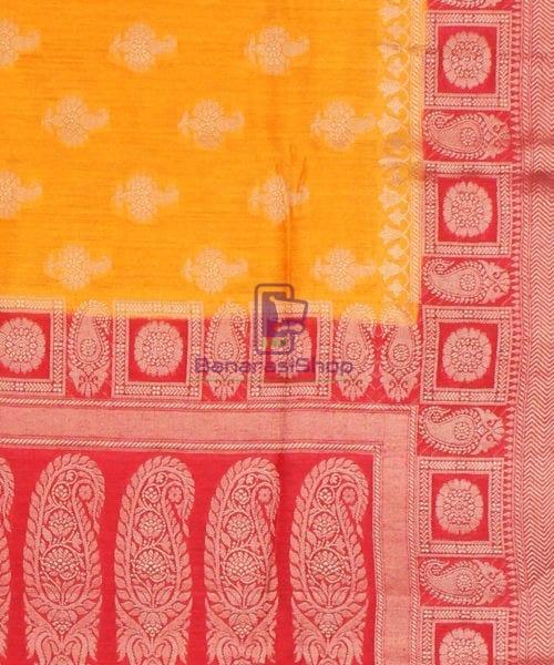 Pure Banarasi Muga Silk Saree in Light Orange and Red 6