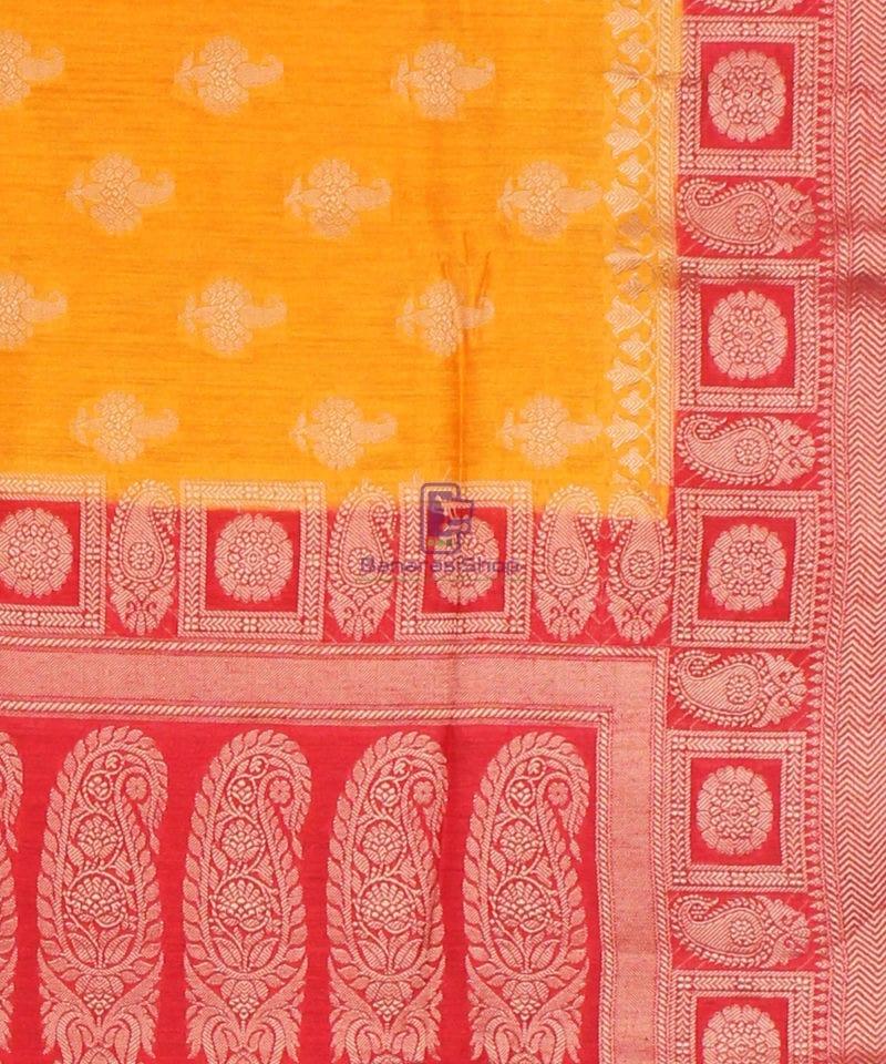 Pure Banarasi Muga Silk Saree in Light Orange and Red 3