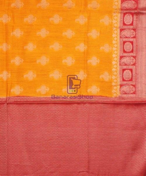 Pure Banarasi Muga Silk Saree in Light Orange and Red 7