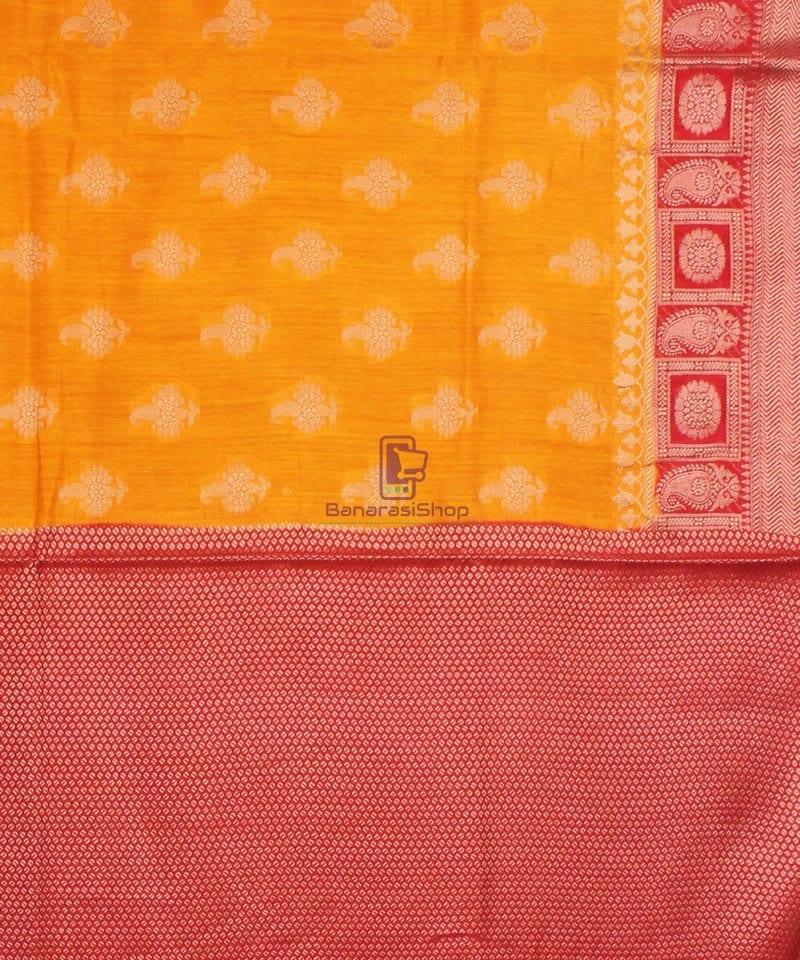 Pure Banarasi Muga Silk Saree in Light Orange and Red 4