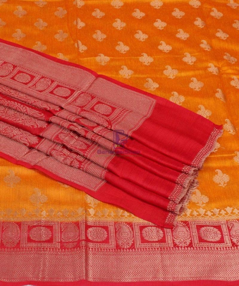 Pure Banarasi Muga Silk Saree in Light Orange and Red 1