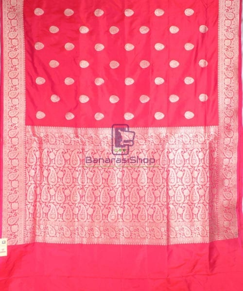 Handwoven Banarasi Katan Pure Silk Saree in Red 4