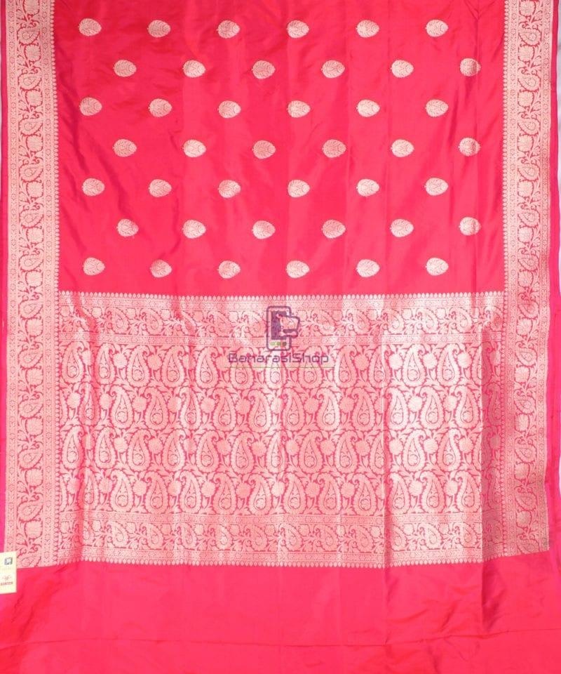 Handwoven Banarasi Katan Pure Silk Saree in Red 2