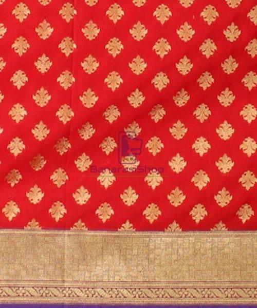 Woven Banarasi Art Silk Dupatta in Candy Red 5