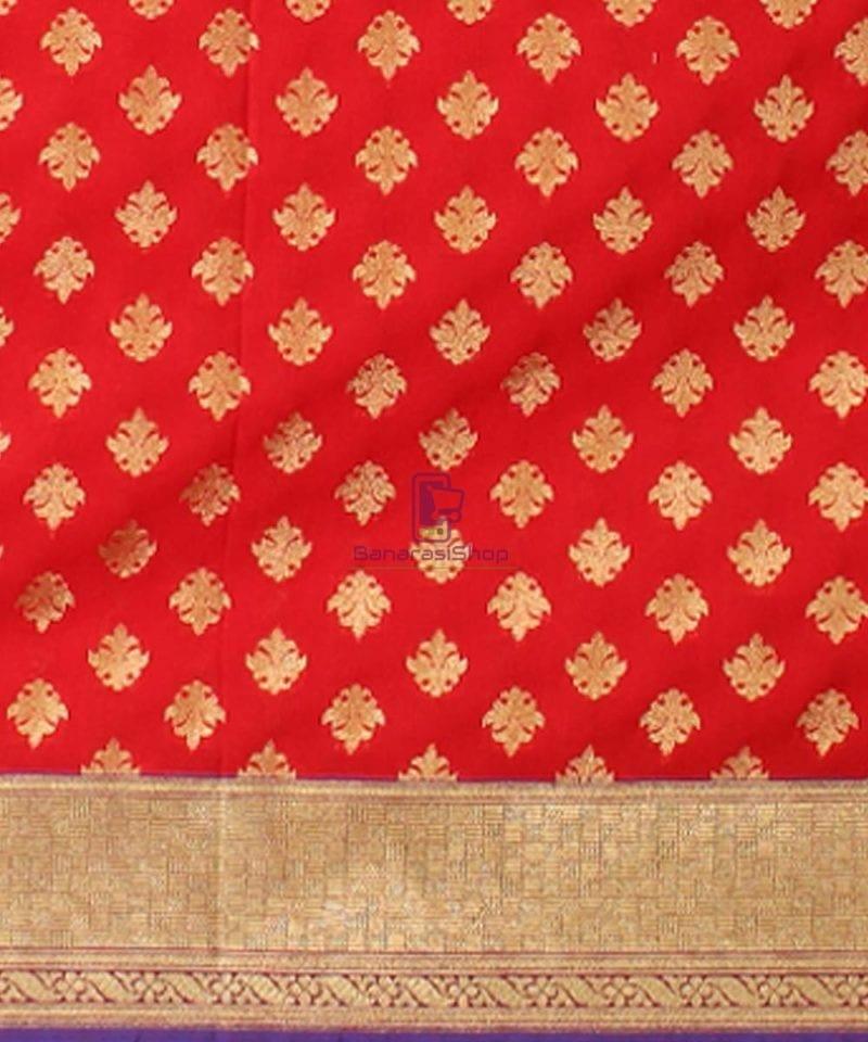Woven Banarasi Art Silk Dupatta in Candy Red 3