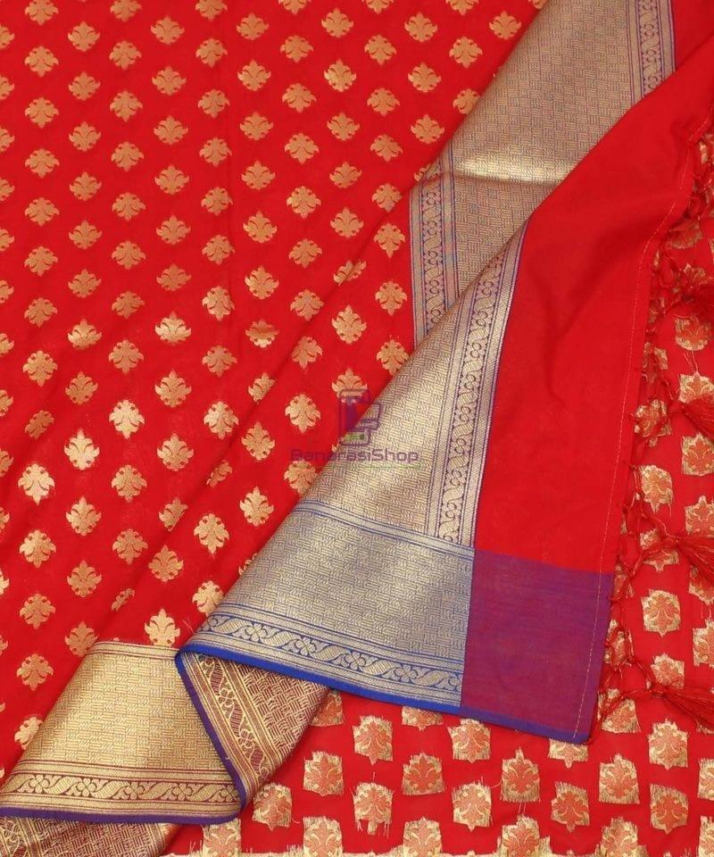 Woven Banarasi Art Silk Dupatta in Candy Red 1