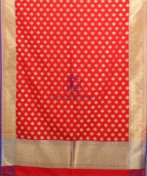 Woven Banarasi Art Silk Dupatta in Candy Red 4