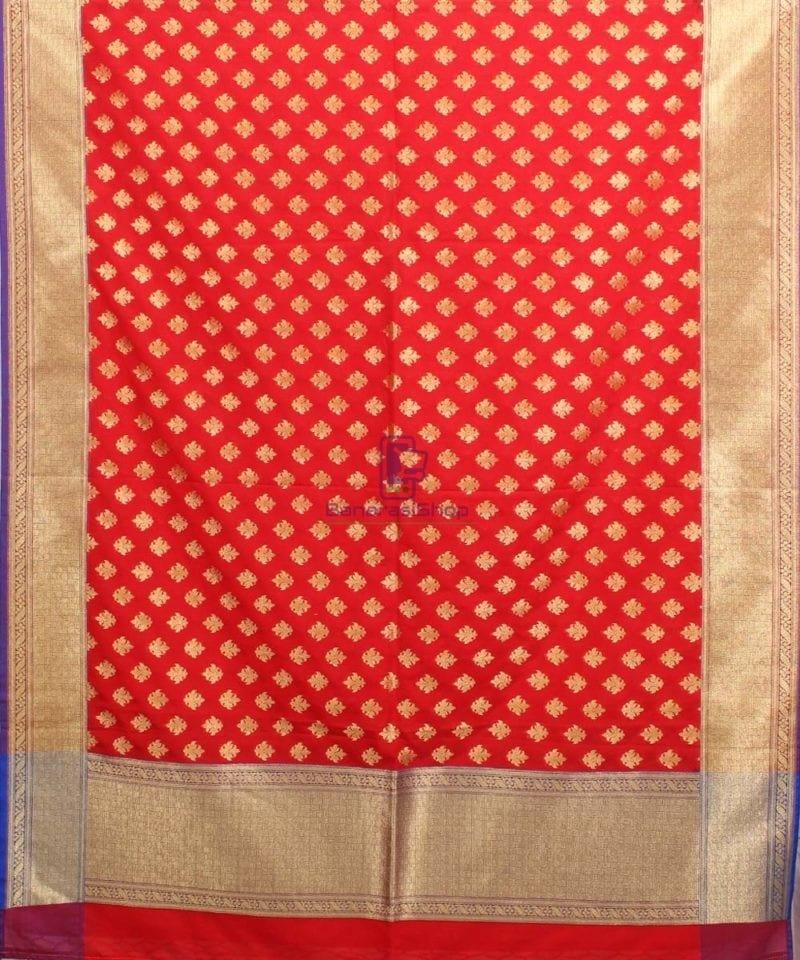 Woven Banarasi Art Silk Dupatta in Candy Red 2