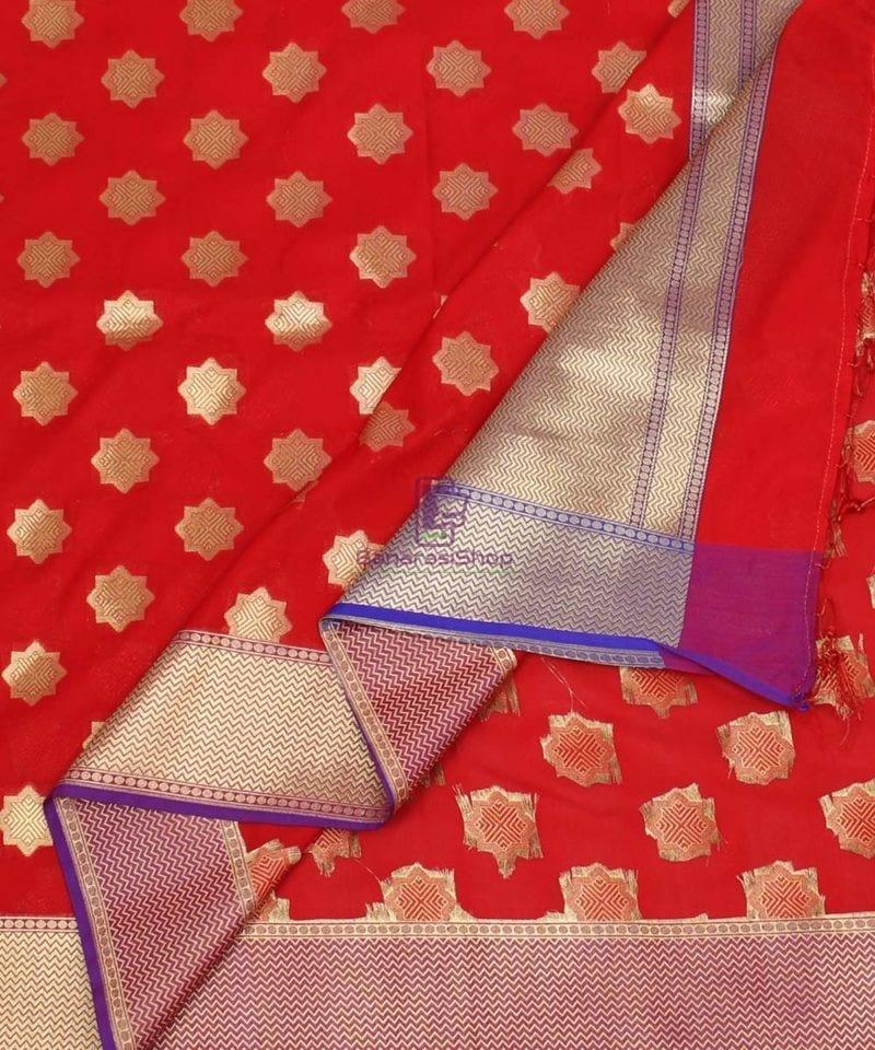 Woven Banarasi Art Silk Dupatta in Red Candy 1