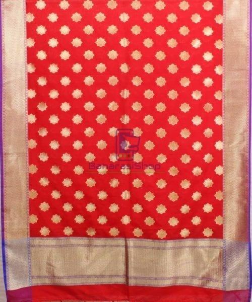 Woven Banarasi Art Silk Dupatta in Red Candy 4