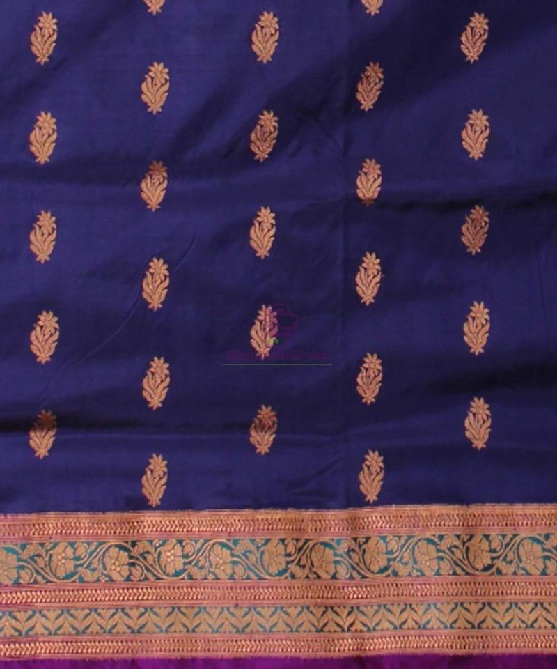 Banarasi Pure Katan Silk Handloom Saree in Navy Blue 3