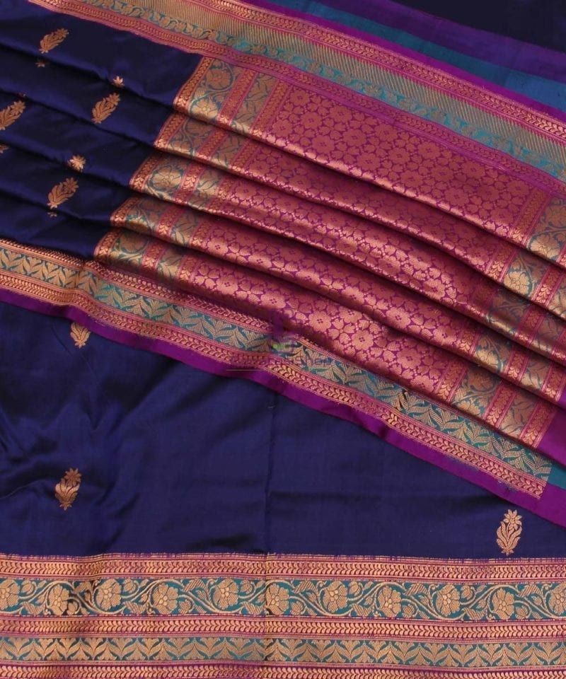 Banarasi Pure Katan Silk Handloom Saree in Navy Blue 1