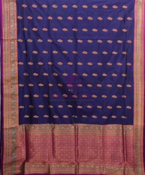 Banarasi Pure Katan Silk Handloom Saree in Navy Blue 4