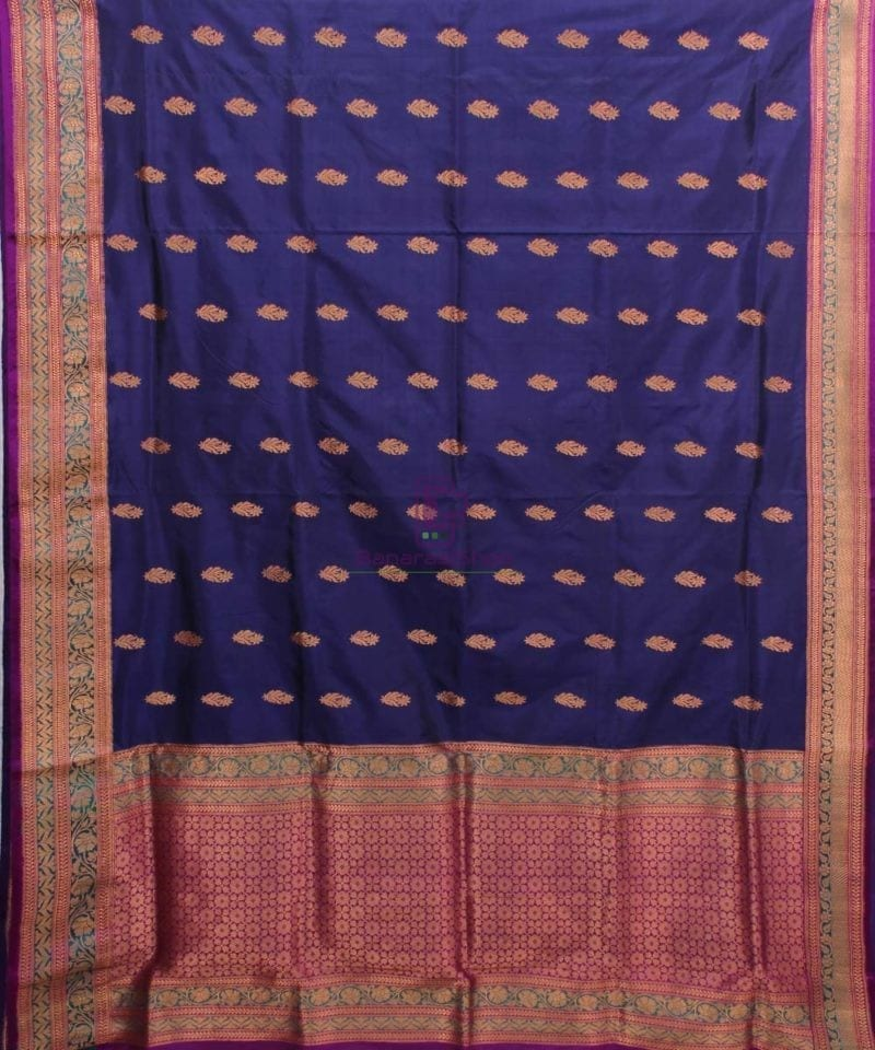 Banarasi Pure Katan Silk Handloom Saree in Navy Blue 2