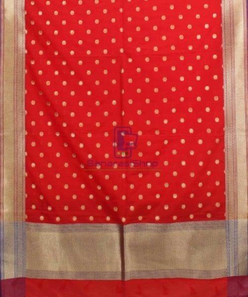 Woven Banarasi Art Silk Dupatta in Red 4