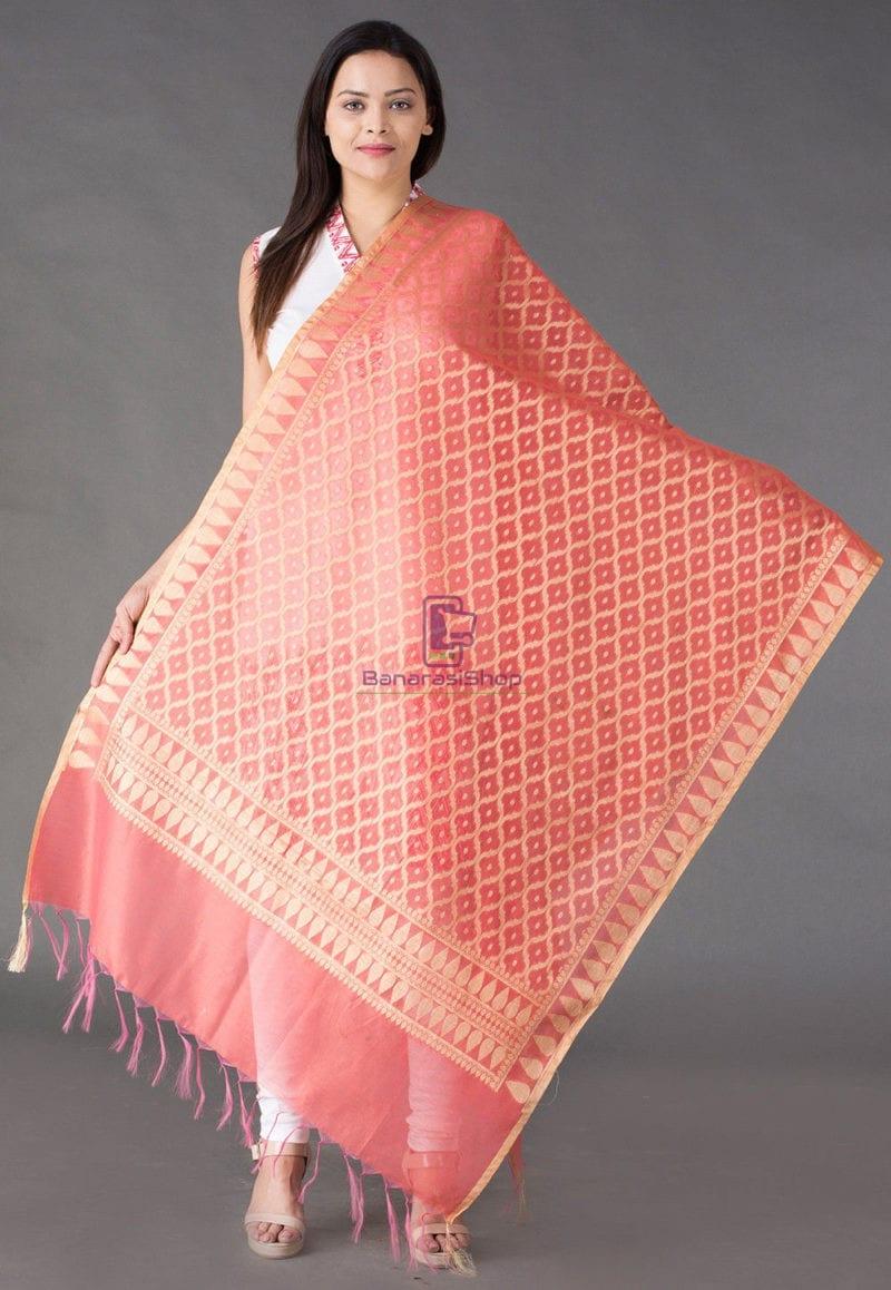 Banarasi Cotton Silk Dupatta in Dark Peach 1