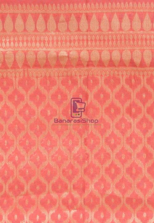 Banarasi Cotton Silk Dupatta in Dark Peach 3
