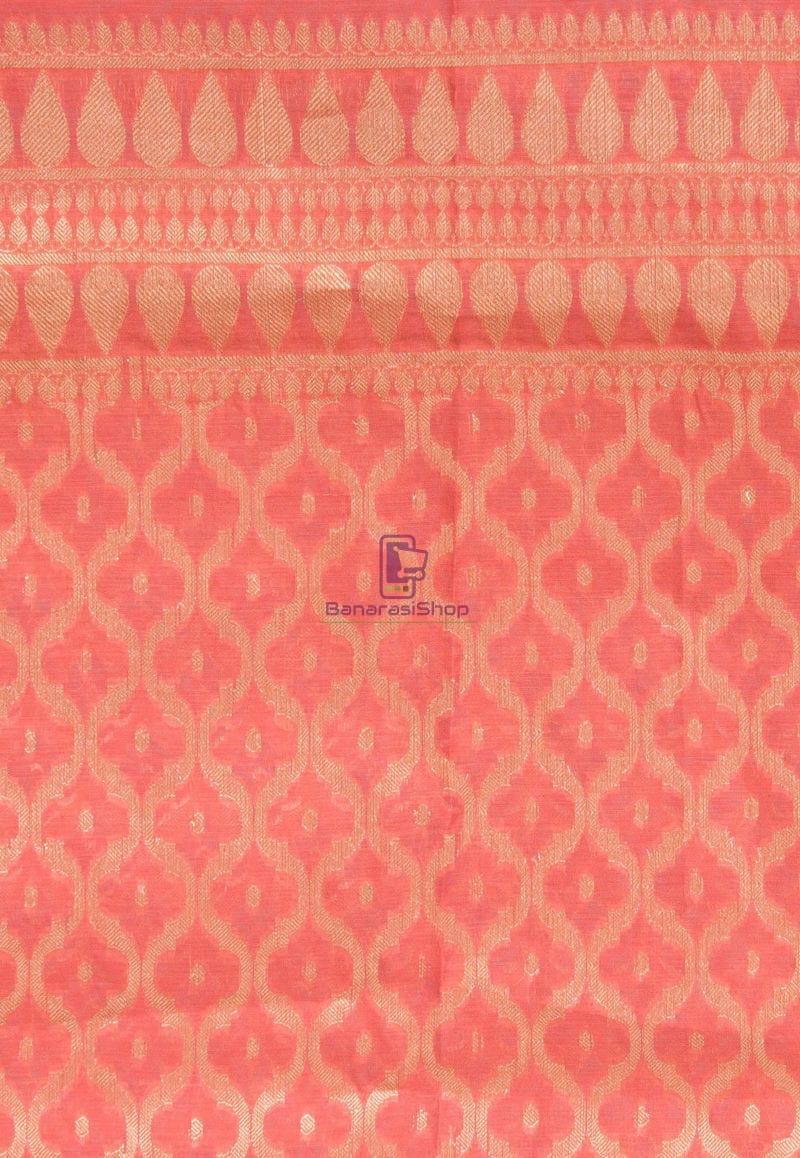 Banarasi Cotton Silk Dupatta in Dark Peach 2
