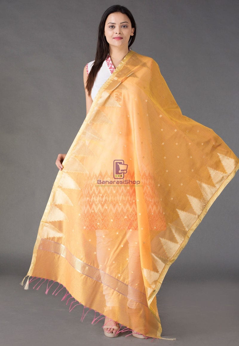 Banarasi Cotton Silk Dupatta in Mustard 1