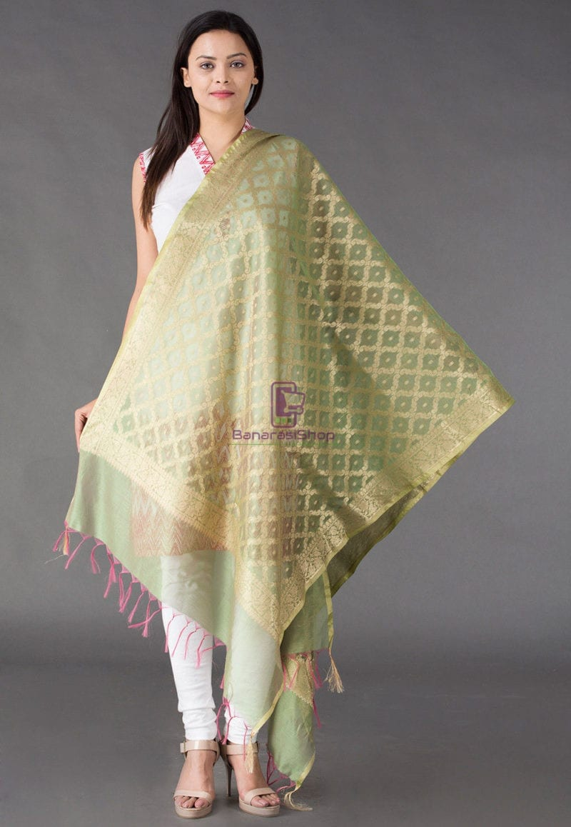 Banarasi Cotton Silk Dupatta in Pastel Green 1