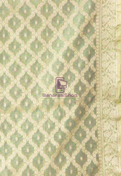 Banarasi Cotton Silk Dupatta in Pastel Green 3