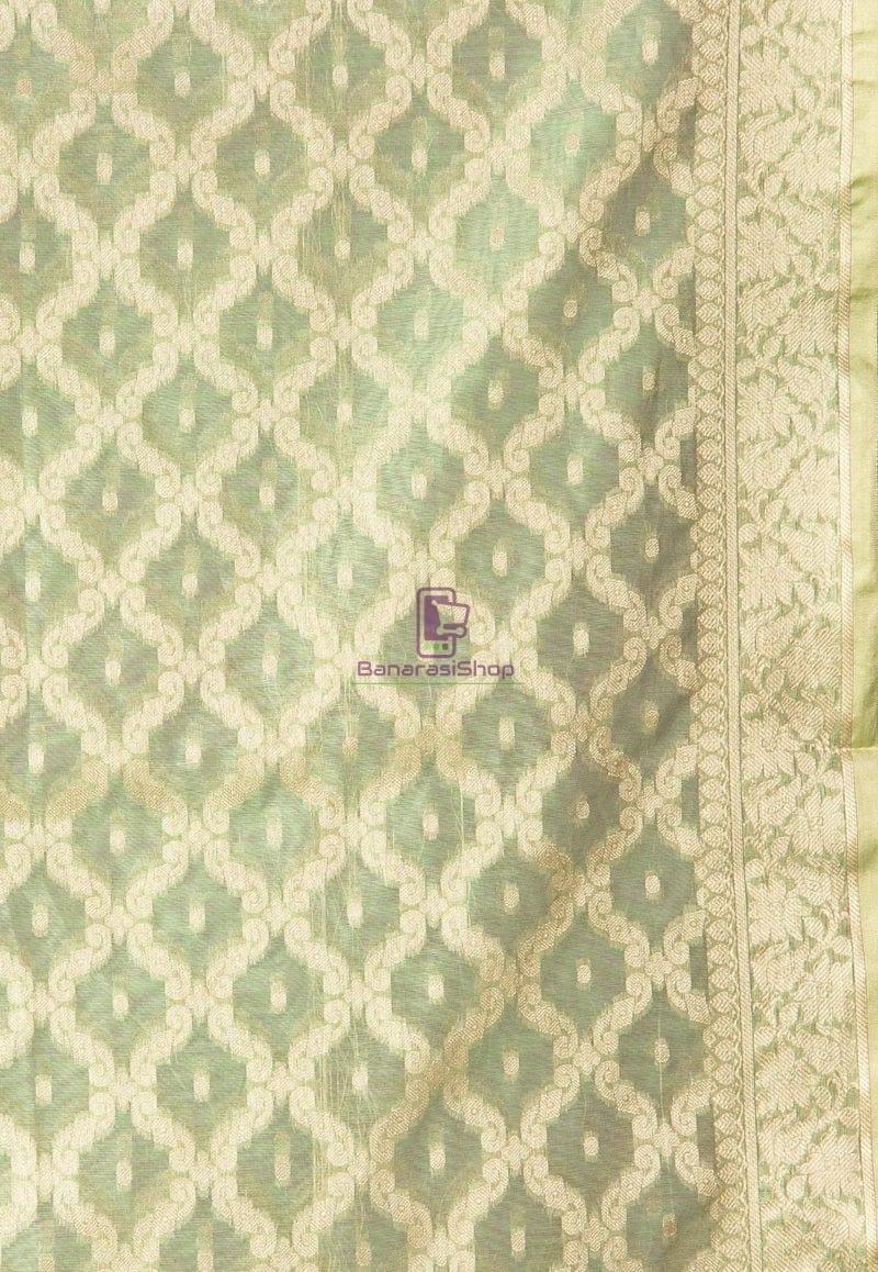 Banarasi Cotton Silk Dupatta in Pastel Green 2