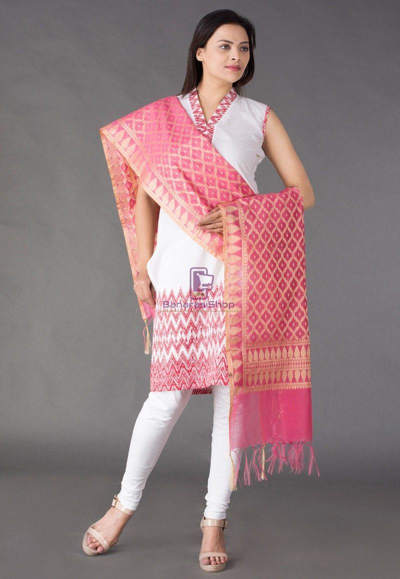 Banarasi Cotton Silk Dupatta in Pink 1
