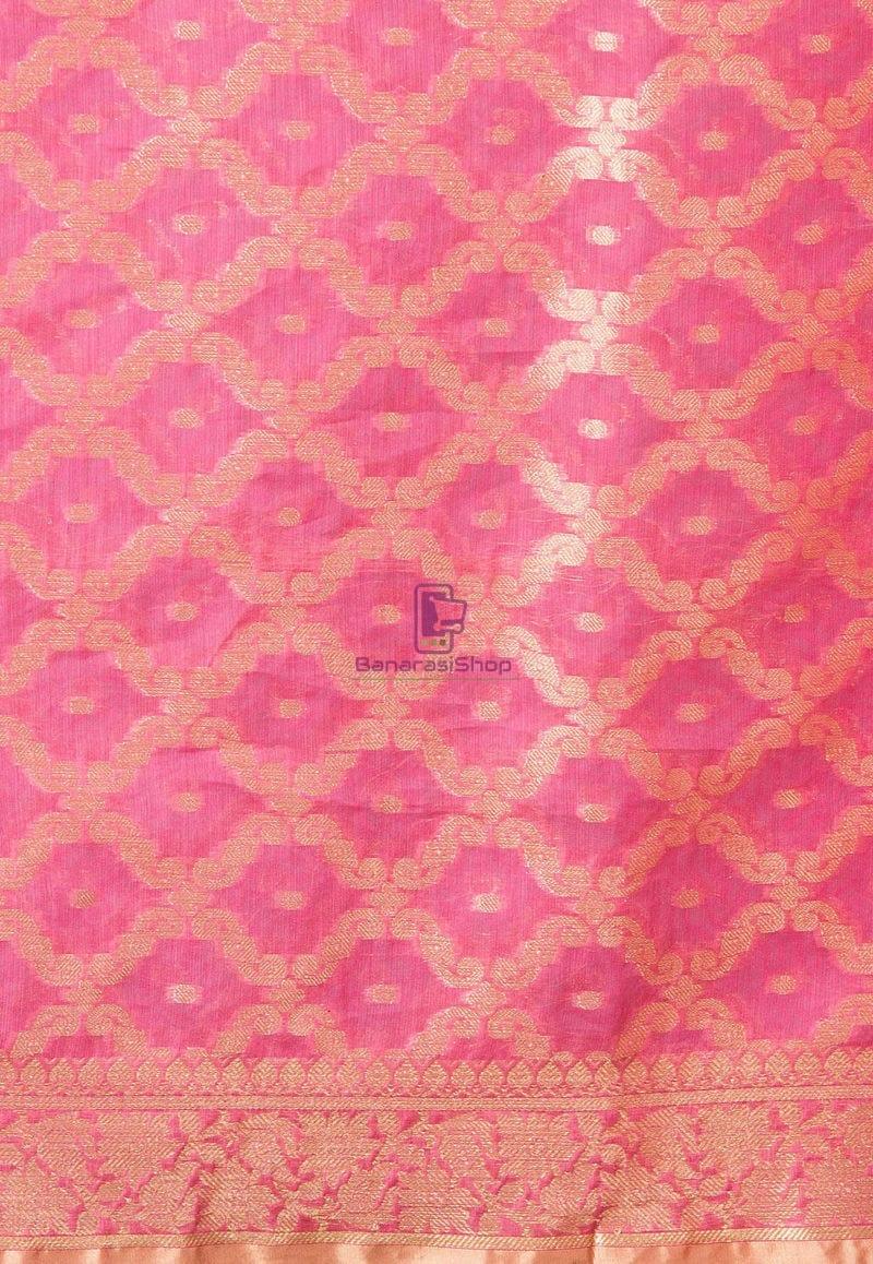 Banarasi Cotton Silk Dupatta in Pink 2